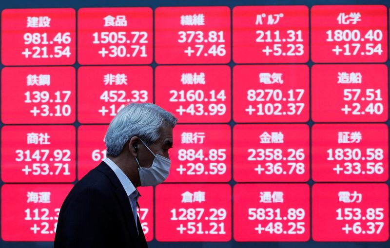 © Reuters. FILE PHOTO: A man wearing a protective face mask walks past  a stock quotation board outside a brokerage, amid the coronavirus disease (COVID-19) outbreak, in Tokyo